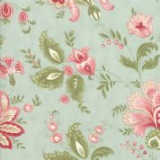 Moda - Porcelain - 3 Sisters - 6324 - Traditional Floral on Duckegg - 44190 14 - Cotton Fabric
